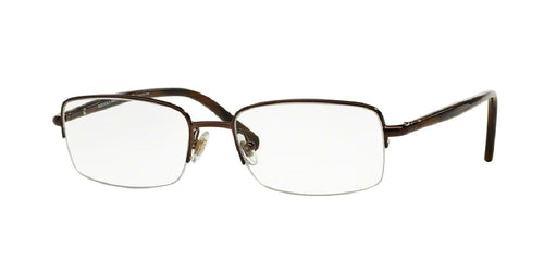 7pm view of Brooks Brothers Eyeglasses - BB 499 Rectangle BB 499 1538 55 BROWN CLEAR DEMO LENS Men's Semi Rim