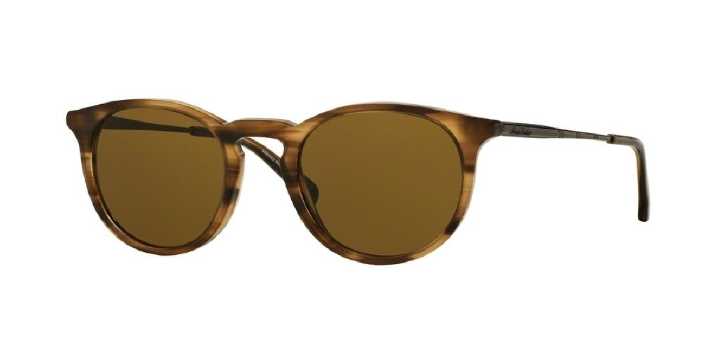 7pm view of Brooks Brothers Sunglasses - MODERN (BB) BB5028S 610473 48 LIGHT BROWN HORN GUNMETAL SMOKE SOLID Men's Round Full Rim