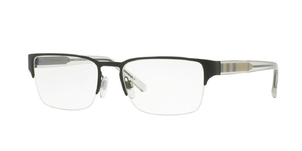 7pm view of Burberry Eyeglasses - ACOUSTIC BE1297 1007 54 MATTE BLACK CLEAR DEMO LENS Men's Square Semi Rim