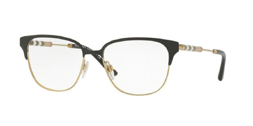 7pm view of Burberry Eyeglasses - FUN ABOUT TOWN BE1313Q 1237 53 BLACK LIGHT GOLD CLEAR DEMO LENS Women's Square Full Rim