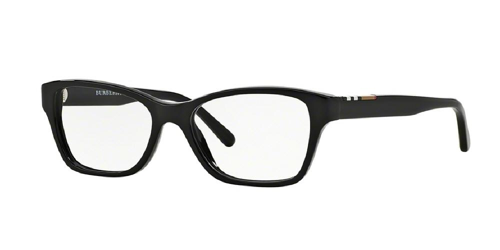 7pm view of Burberry Eyeglasses - ACOUSTIC CAT EYE BE2144 3001 53 BLACK CLEAR DEMO LENS Women's Full Rim Butterfly