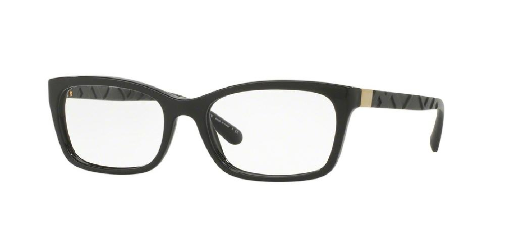 7pm view of Burberry Eyeglasses - HERITAGE BE2220 3001 52 BLACK CLEAR DEMO LENS Women's Rectangle Full Rim