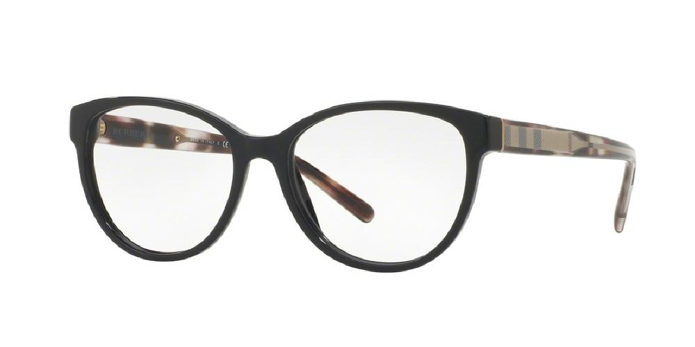7pm view of Burberry Eyeglasses - ACOUSTIC BE2229 3001 52 BLACK CLEAR DEMO LENS Women's Square Full Rim