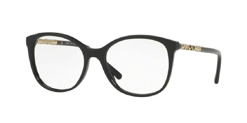 7pm view of Burberry Eyeglasses - HERITAGE ROUND BE2245F 3001 54 BLACK CLEAR DEMO LENS Women's Full Rim