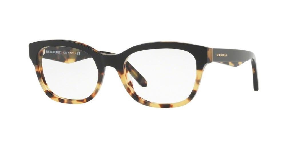 7pm view of Burberry Eyeglasses - FUN ABOUT TOWN BE2257 3649 51 TOP BLACK ON TORTOISE HAVANA CLEAR DEMO LENS Women's Square Full Rim