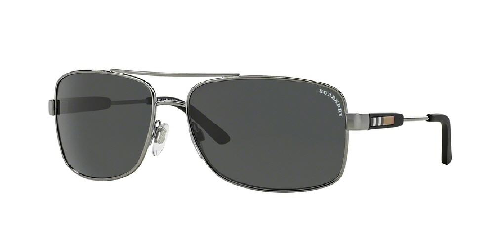 7pm view of Burberry Sunglasses - ACOUSTIC BE3074 100387 63 GUNMETAL GRAY Men's Rectangle Full Rim