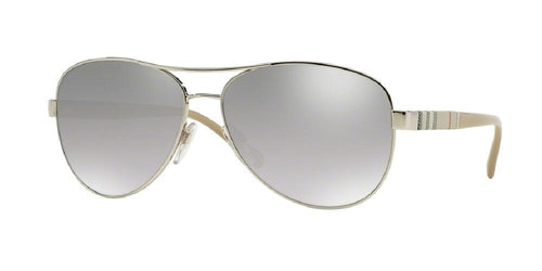 7pm view of Burberry Sunglasses - HERITAGE AVIATOR BE3080 10056V 59 MIRROR GRADIENT LIGHT GREY SILVER Women's Full Rim