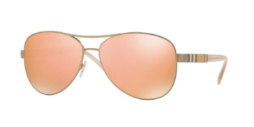 7pm view of Burberry Sunglasses - HERITAGE AVIATOR BE3080 12357J 59 MATTE BROWN MIRROR ROSE GOLD Women's Full Rim