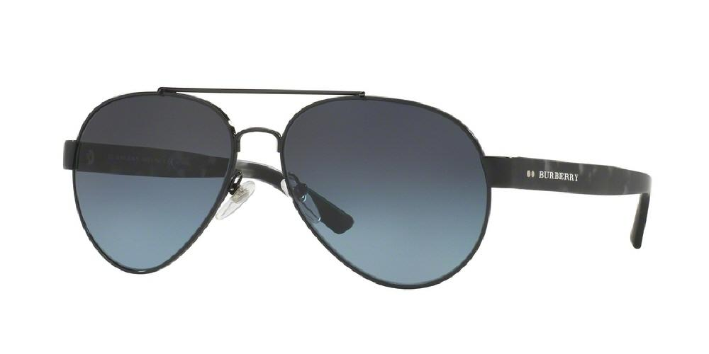 7pm view of Burberry Sunglasses - TAILORING AVIATOR BE3086 1001K4 59 POLARIZED GRADIENT BLACK BLUE BLK Men's Full Rim