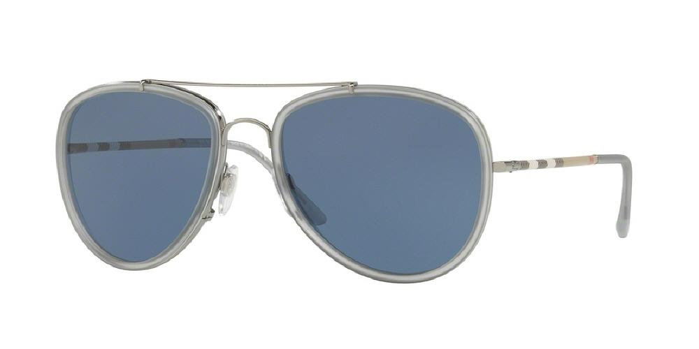 7pm view of Burberry Sunglasses - HERITAGE AVIATOR BE3090Q 100380 58 GUNMETAL MATTE GREY BLUE Men's Full Rim