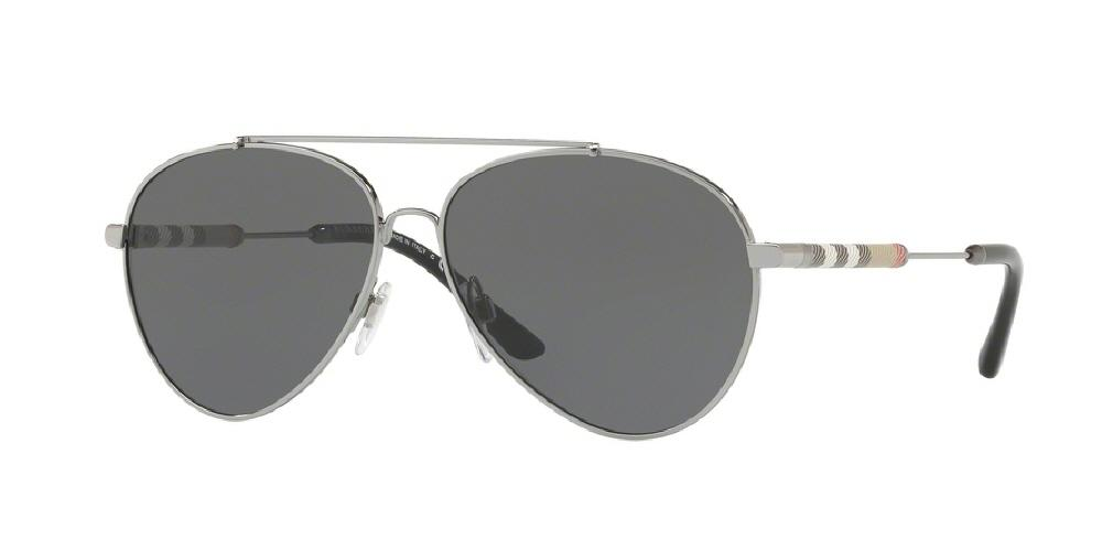 7pm view of Burberry Sunglasses - FUN ABOUT TOWN AVIATOR BE3092Q 100387 57 GUNMETAL GREY Women's Full Rim