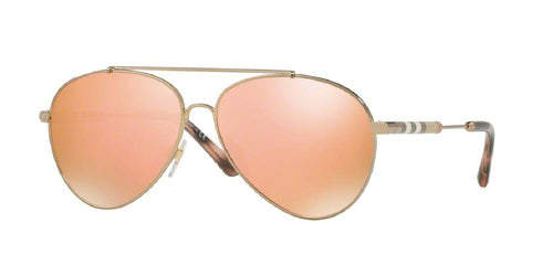7pm view of Burberry Sunglasses - FUN ABOUT TOWN AVIATOR BE3092Q 12437J 57 BROWN MIRROR ROSE GOLD Women's Full Rim