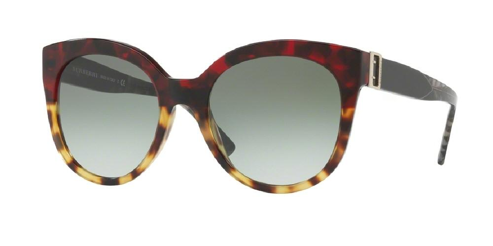 7pm view of Burberry Sunglasses - HERITAGE CAT EYE BE4243 36358E 55 GRADIENT RED TORTOISE LIGHT HAVANA GREEN Women's Full Rim Butterfly