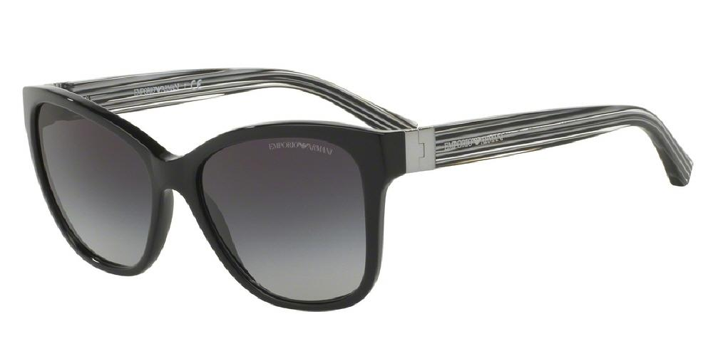 7pm view of Emporio Armani Sunglasses - TREND EA4068 50178G 57 BLACK GREY GRADIENT Women's Square Full Rim