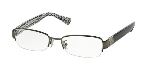 7pm view of Coach Eyeglasses - CECILY MADISON HC5027B 9081 52 DARK SILVER BLACK CRYSTAL CLEAR DEMO LENS Women's Rectangle Semi Rim