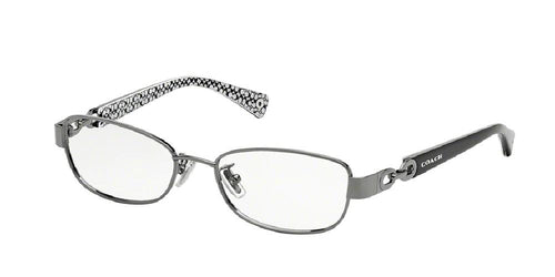 7pm view of Coach Eyeglasses - FAINA LEGACY CAT EYE HC5054 9186 49 DARK SILVER BLACK WHITE SIG C CLEAR DEMO LENS Women's Full Rim Butterfly