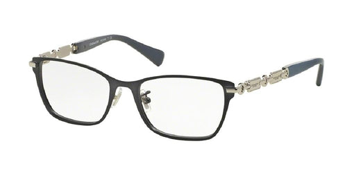 7pm view of Coach Eyeglasses - UPTOWN HC5065 9214 51 NAVY BLUE GREY CLEAR DEMO LENS Women's Square Full Rim