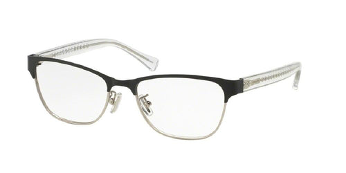 7pm view of Coach Eyeglasses - UPTOWN HC5067 9233 51 SATIN BLACK SILVER CRYSTAL CLEAR DEMO LENS Women's Square Full Rim