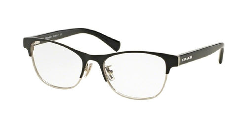 7pm view of Coach Eyeglasses - CORE HC5074 9239 52 SATIN SILVER BLACK CLEAR DEMO LENS Women's Square Full Rim