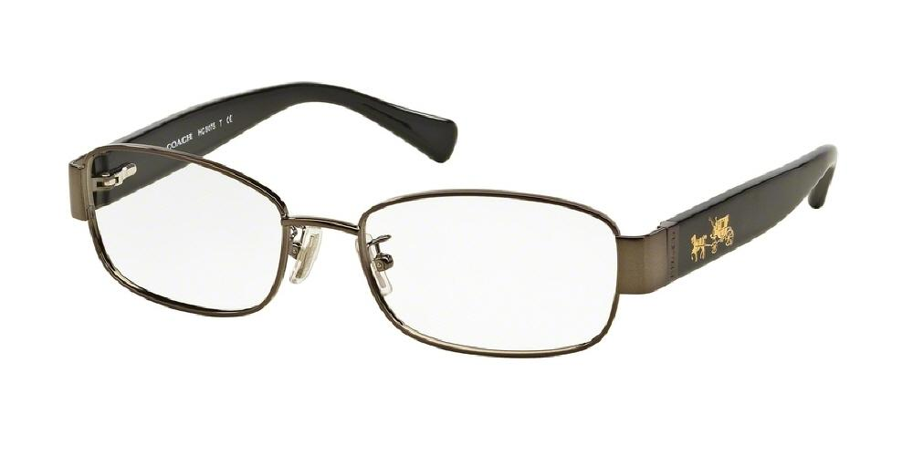 7pm view of Coach Eyeglasses - CORE HC5075 9017 53 DARK SILVER BLACK CLEAR DEMO LENS Women's Rectangle Full Rim