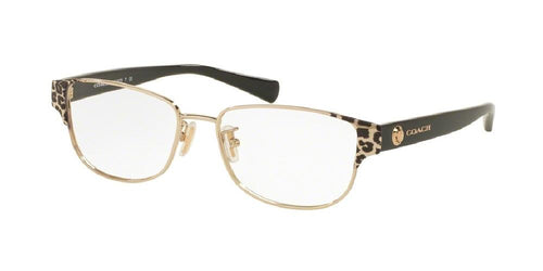 7pm view of Coach Eyeglasses - UPTOWN HC5079 9256 53 WILD BEAST BROWN LIGHT GOLD BLACK CLEAR DEMO LENS Women's Rectangle Full Rim