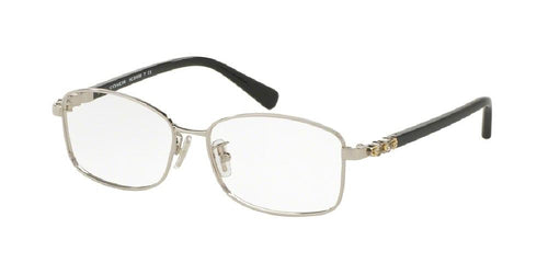 7pm view of Coach Eyeglasses - UPTOWN HC5083B 9015 51 SILVER BLACK CLEAR DEMO LENS Women's Rectangle Full Rim