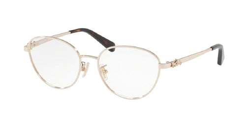 7pm view of Coach Eyeglasses - FUN ABOUT TOWN HC5088 9310 51 LIGHT GOLD CLEAR DEMO LENS Women's Oval Full Rim
