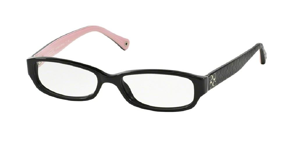 7pm view of Coach Eyeglasses - EMILY POPPY HC6001 5053 50 BLACK CLEAR DEMO LENS Women's Rectangle Full Rim
