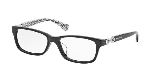 7pm view of Coach Eyeglasses - FANNIE (F) DOWNTOWN HC6052F 5214 54 BLACK WHITE SIG C CLEAR DEMO LENS Women's Rectangle Full Rim