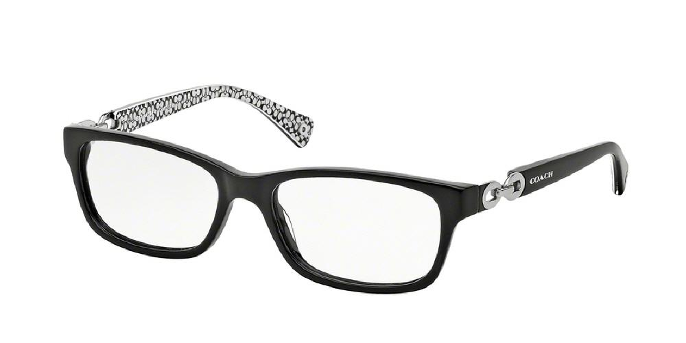 7pm view of Coach Eyeglasses - FANNIE LEGACY HC6052 5214 52 BLACK WHITE SIG C CLEAR DEMO LENS Women's Rectangle Full Rim