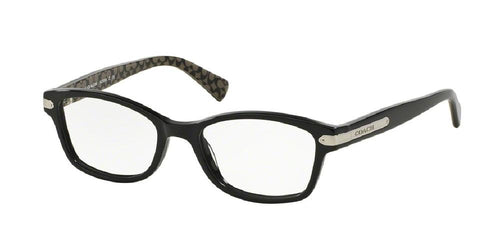 7pm view of Coach Eyeglasses - DOWNTOWN HC6065 5261 51 BLACK MILITARY SIG C CLEAR DEMO LENS Women's Rectangle Full Rim