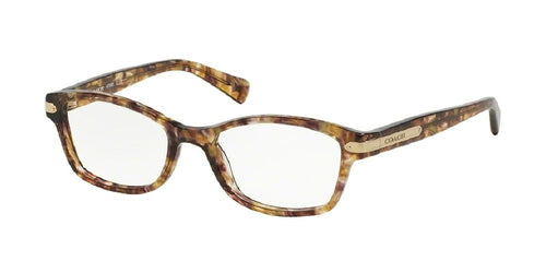 7pm view of Coach Eyeglasses - DOWNTOWN HC6065 5287 51 CONFETTI LIGHT BROWN CLEAR DEMO LENS Women's Rectangle Full Rim