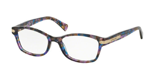 7pm view of Coach Eyeglasses - DOWNTOWN HC6065 5288 49 CONFETTI PURPLE CLEAR DEMO LENS Women's Rectangle Full Rim