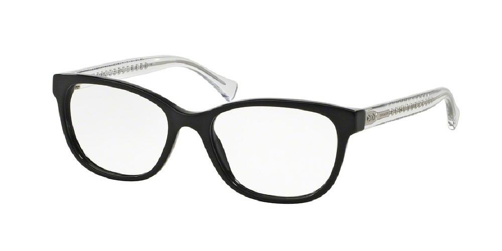7pm view of Coach Eyeglasses - UPTOWN HC6072 5327 50 BLACK GLITTER CRYSTAL CLEAR DEMO LENS Women's Square Full Rim