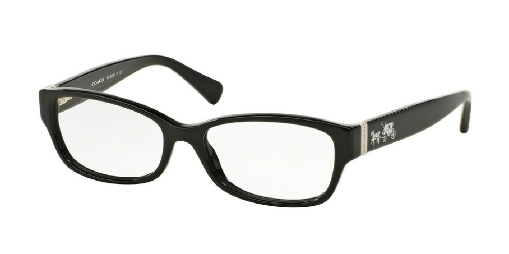 7pm view of Coach Eyeglasses - CORE HC6078F 5002 54 BLACK CLEAR DEMO LENS Women's Rectangle Full Rim