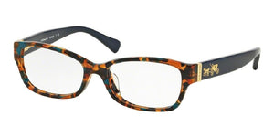 7pm view of Coach Eyeglasses - CORE HC6078 5337 52 CONFETTI TEAL BLUE GREEN CLEAR DEMO LENS Women's Rectangle Full Rim