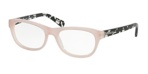 7pm view of Coach Eyeglasses - CORE HC6081 5350 51 BLUSH TAN PINK BLACK CRYSTAL MOSAIC CLEAR DEMO LENS Women's Rectangle Full Rim