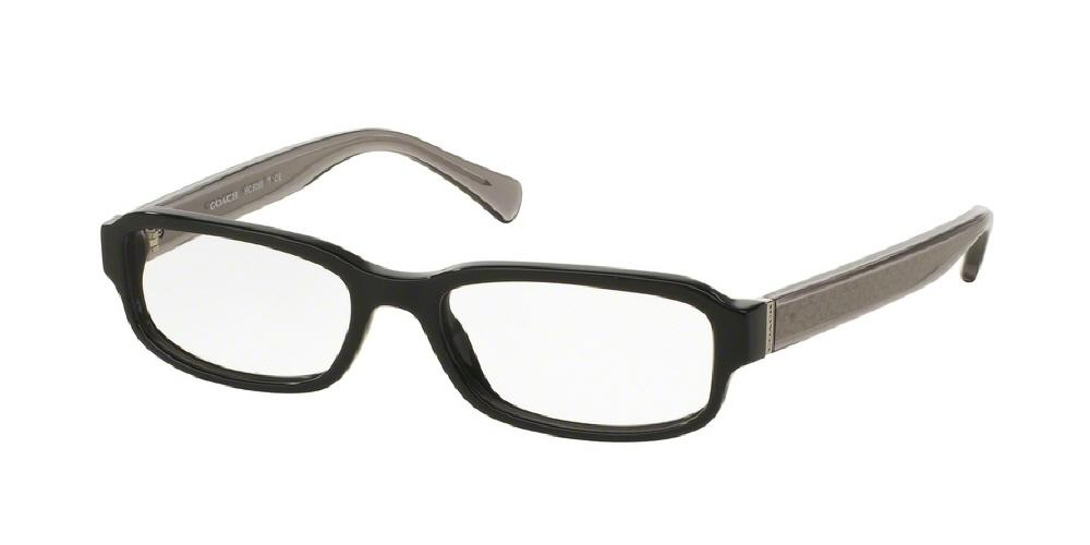 7pm view of Coach Eyeglasses - CORE HC6083 5354 50 BLACK DARK GREY CRYSTAL CLEAR DEMO LENS Women's Rectangle Full Rim