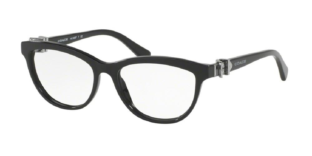7pm view of Coach Eyeglasses - CORE CAT EYE HC6087 5002 51 BLACK CLEAR DEMO LENS Women's Full Rim Butterfly