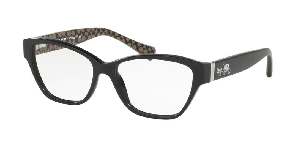 7pm view of Coach Eyeglasses - CORE CAT EYE HC6088 5261 52 BLACK MILITARY SIG C CLEAR DEMO LENS Women's Full Rim Butterfly