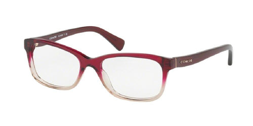 7pm view of Coach Eyeglasses - DOWNTOWN HC6089 5484 51 RED SAND GRADIENT CLEAR DEMO LENS Women's Rectangle Full Rim