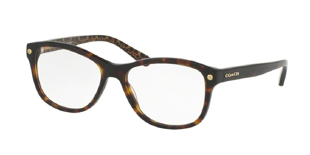 7pm view of Coach Eyeglasses - CORE HC6095F 5394 54 DARK HAVANA TORTOISE GOLD SIG C CLEAR DEMO LENS Women's Square Full Rim