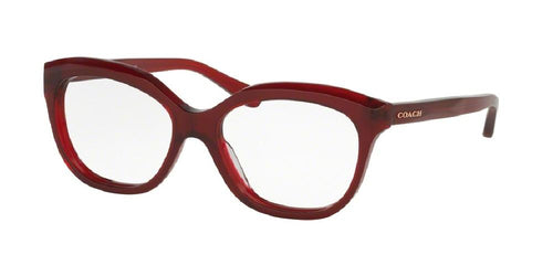 7pm view of Coach Eyeglasses - DOWNTOWN HC6096 5029 53 BURGUNDY RED CLEAR DEMO LENS Women's Square Full Rim