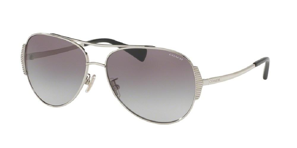 7pm view of Coach Sunglasses - L1590 DOWNTOWN AVIATOR HC7067 901511 59 SILVER BLACK GREY GRADIENT Women's Full Rim