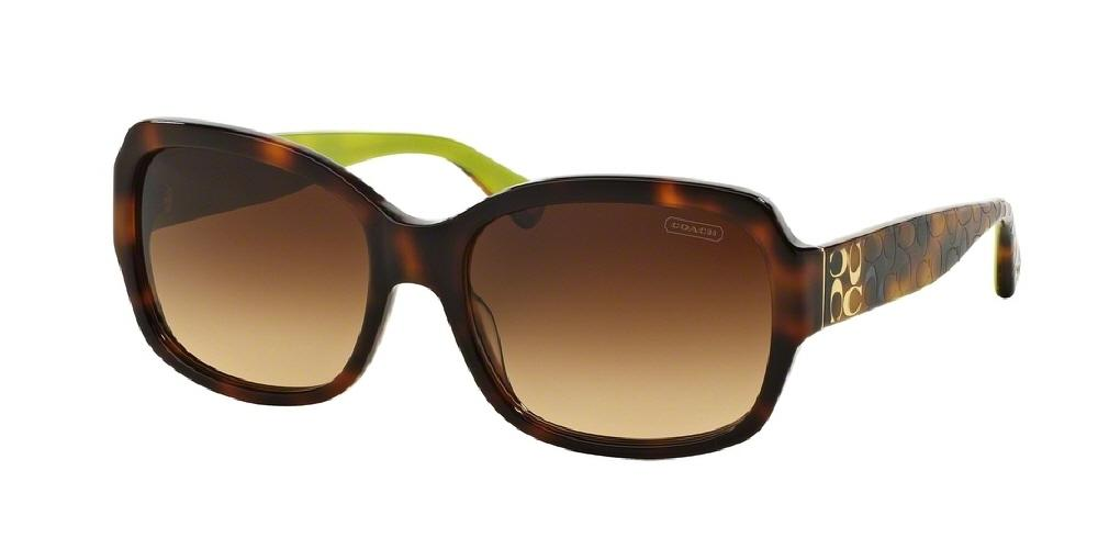 7pm view of Coach Sunglasses - L001 EMMA POPPY HC8001 505213 57 GRADIENT HAVANA TORTOISE BROWN Women's Square Full Rim