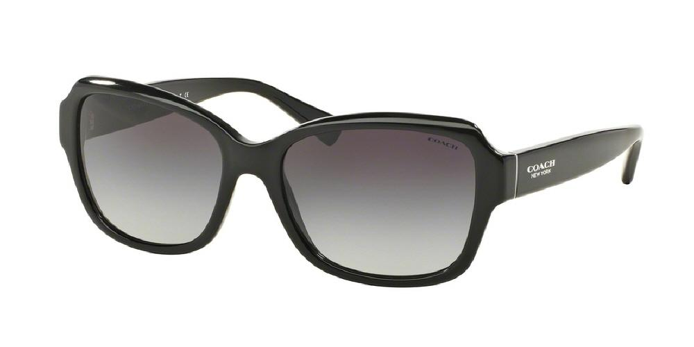 7pm view of Coach Sunglasses - L145 CORE CAT EYE HC8160 500211 56 GRADIENT BLACK LIGHT GREY Women's Full Rim Butterfly