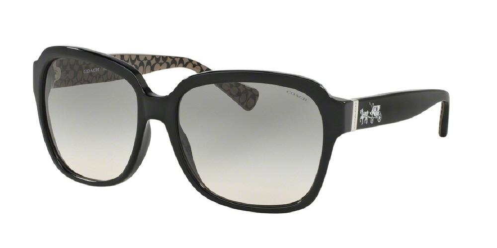 7pm view of Coach Sunglasses - L1603 HC8185F 526111 58 BLACK MILITARY SIG C GREY GRADIENT Women's Square Full Rim