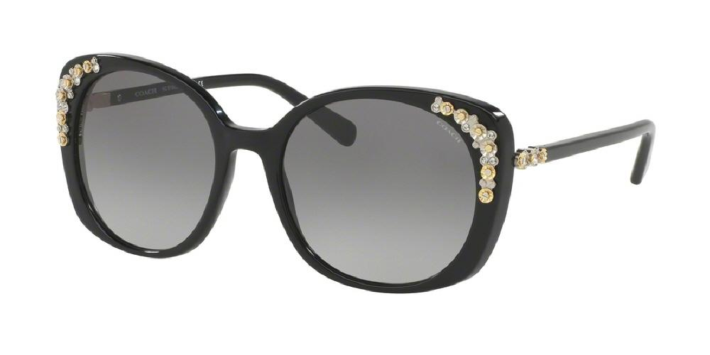 7pm view of Coach Sunglasses - L1596 CAT EYE HC8186BF 500211 56 BLACK GREY GRADIENT Women's Full Rim Butterfly