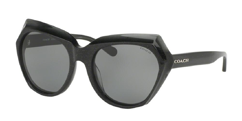 7pm view of Coach Sunglasses - L1615 DOWNTOWN CAT EYE HC8193 542487 55 DARK GREY GLITTER GRY SOLID Women's Full Rim Butterfly