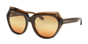 7pm view of Coach Sunglasses - L1615 DOWNTOWN CAT EYE HC8193 5425W8 55 GRADIENT BROWN GLITTER AMBER TRIPLE Women's Full Rim Butterfly